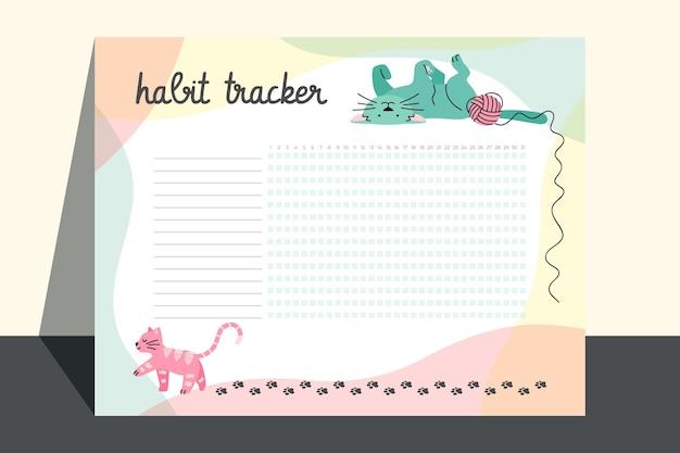 Modelo de rastreador de hábitos criativos com gatos