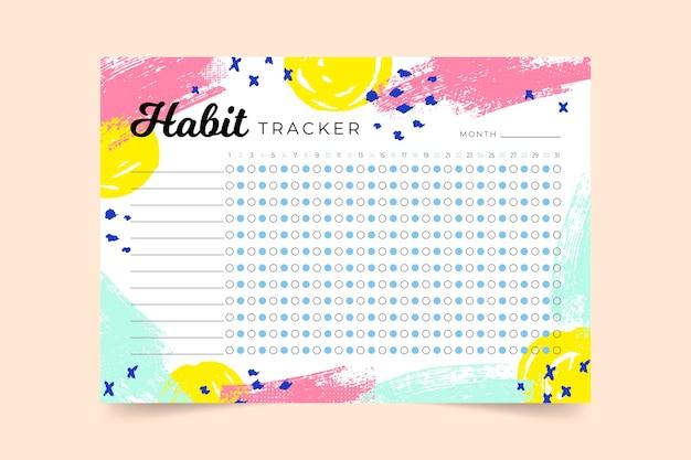 Modelo de rastreador de hábitos de diário com marcadores