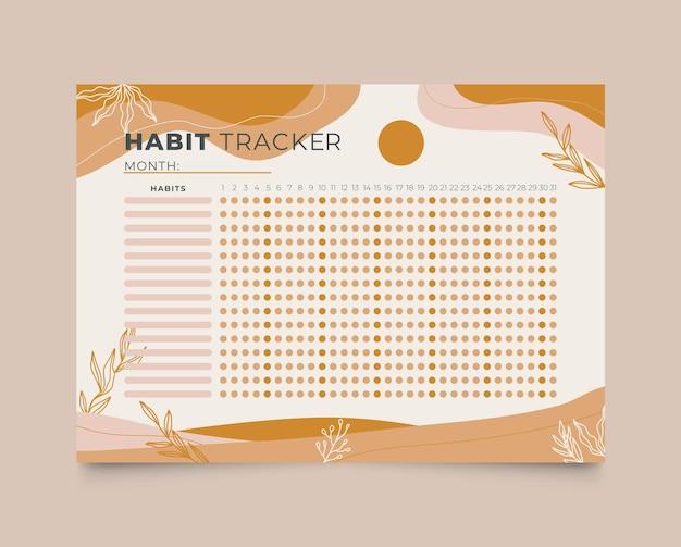 Modelo de rastreador de hábitos mensais