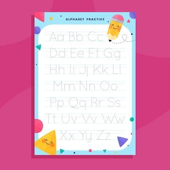 Modelo de rastreamento de alfabeto com elementos fofos