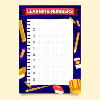 Modelo de rastreamento de números com material escolar