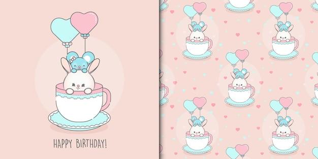 Modelo de rato fofo feliz aniversário e cartão de coelho e padrão sem emenda