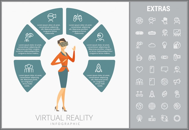 Modelo de realidade virtual infográfico e conjunto de ícones