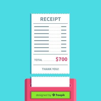Modelo de recibo de pagamento com design plano