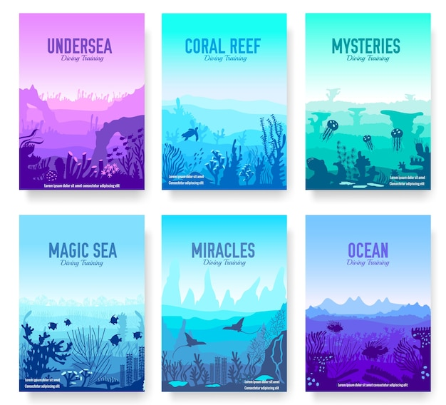 Modelo de recife de coral no oceano de flyer
