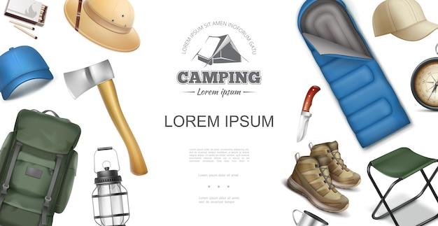 Modelo de recreação ao ar livre realista com boné de machado de mochila chapéu panamá combina botas lanterna faca bússola de navegação copo saco de dormir