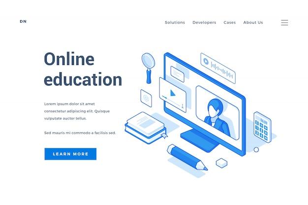 Modelo de recurso de educação on-line moderno com ícones isométricos