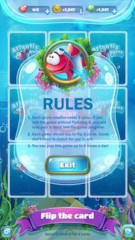 Modelo de regras do jogo, tela da interface do jogo