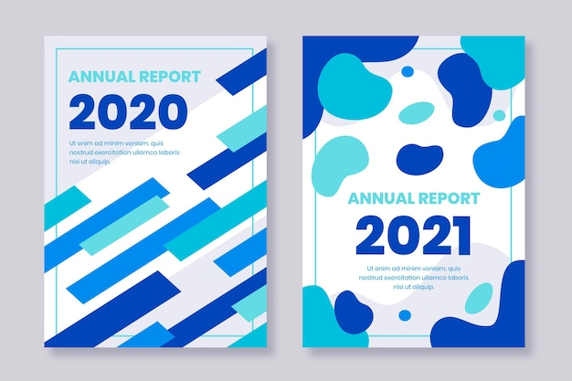 Modelo de relatório anual abstrato azul
