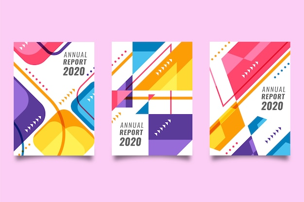 Modelo de relatório anual abstrato colorido