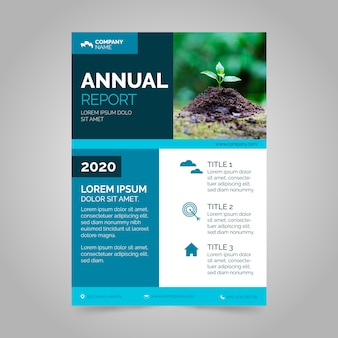 Modelo de relatório anual abstrato com tema de foto