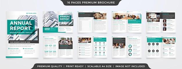 Modelo de relatório anual com estilo minimalista e layout limpo