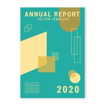 Modelo de relatório anual com formas geométricas