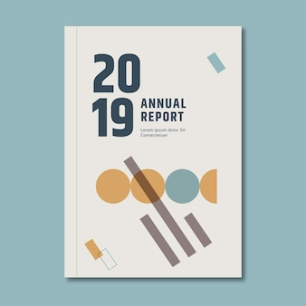 Modelo de relatório anual com pontos e linhas