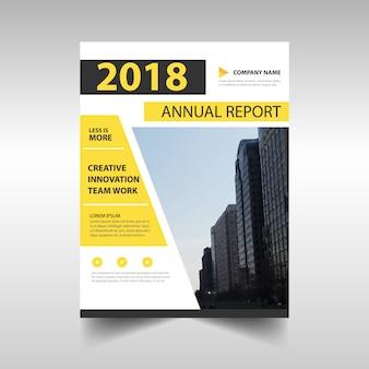 Modelo de relatório anual criativo amarelo