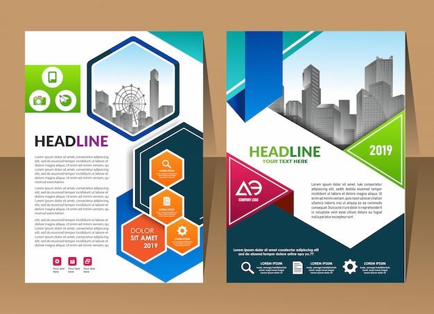 Modelo de relatório anual de fundo abstrato design capa brochura de negócios