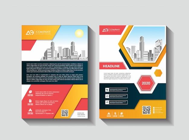 Modelo de relatório anual de layout de folheto corporativo