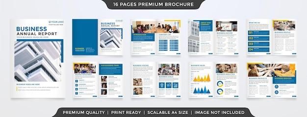Modelo de relatório anual de negócios estilo minimalista e conceito moderno