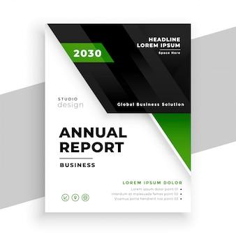 Modelo de relatório anual de negócios geométricos verdes
