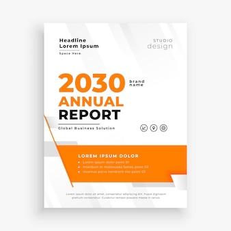 Modelo de relatório anual de negócios na cor laranja
