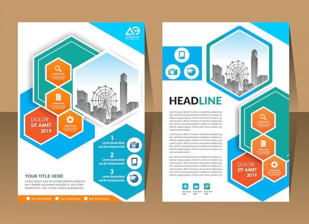 Modelo de relatório anual desenho de forma geométrica capa de brochura de negócios