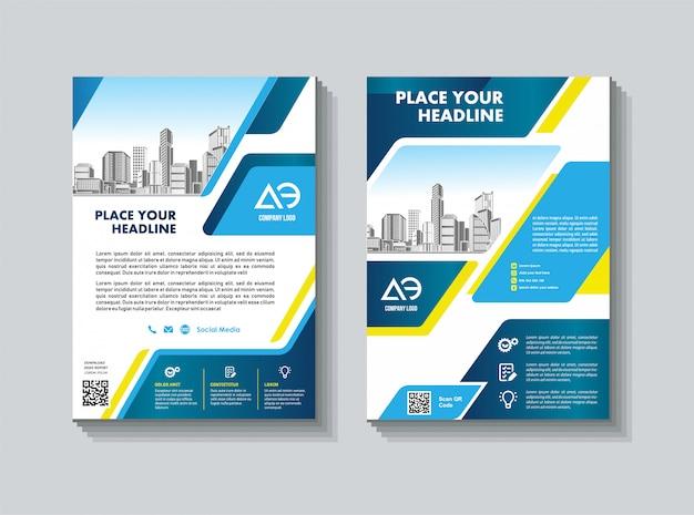 Modelo de relatório anual folheto de negócios de desenho geométrico