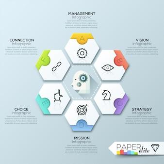 Modelo de relatório de infográfico de vetor feito de linhas e ícones