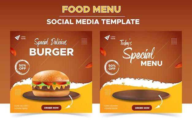 Modelo de restaurante de comida para mídia social promoção especial de menu de hambúrguer delicioso Vetor Premium