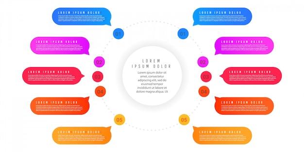 Modelo de resumo infográfico com formas de gradiente com elementos, numeração de elementos