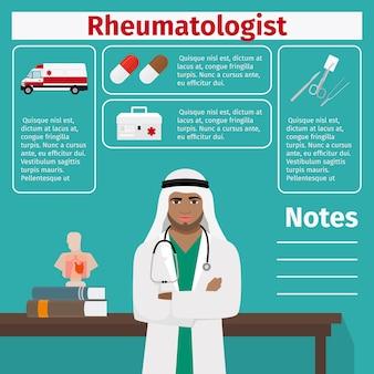 Modelo de reumatologista e equipamentos médicos