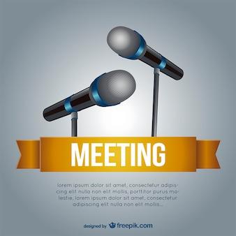Modelo de reunião com microfones