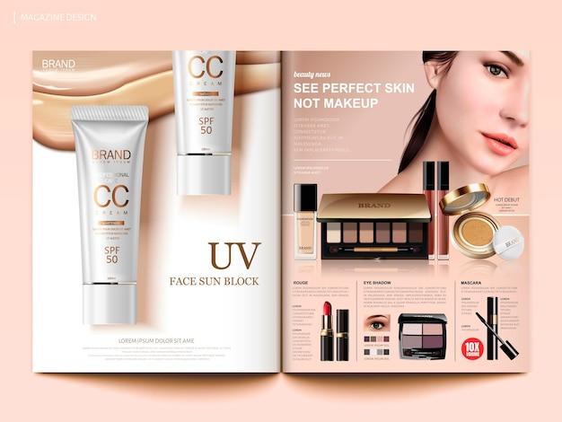Modelo de revista de cosméticos, brochura de tendências de maquiagem da moda com base, protetores solares e produtos de sombra para os olhos em ilustração 3d