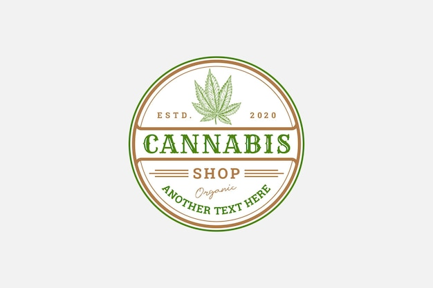 Modelo de rótulo de cannabis de emblema rústico