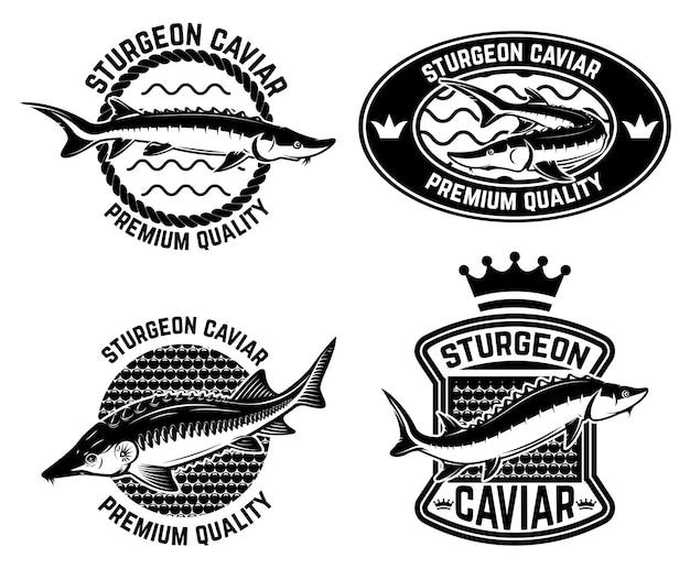 Modelo de rótulo de caviar de esturjão