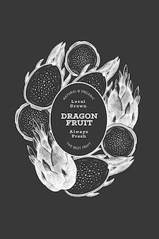 Modelo de rótulo de fruta do dragão desenhado de mão.