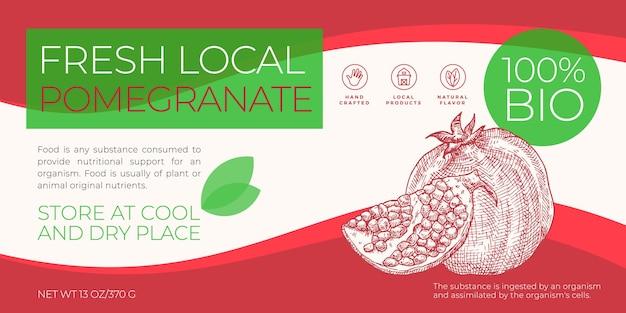 Modelo de rótulo de frutas locais frescas vetor abstrato embalagem layout design horizontal moderno typograp ...