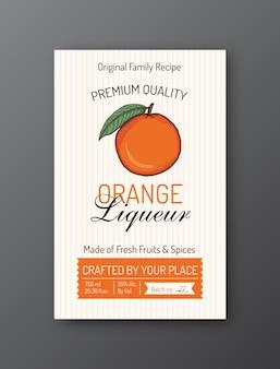 Modelo de rótulo de licor de laranja layout de design de embalagem de vetor moderno