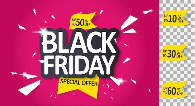 Modelo de rótulo de venda sexta-feira negra, oferta especial.