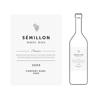 Modelo de rótulo de vinho branco