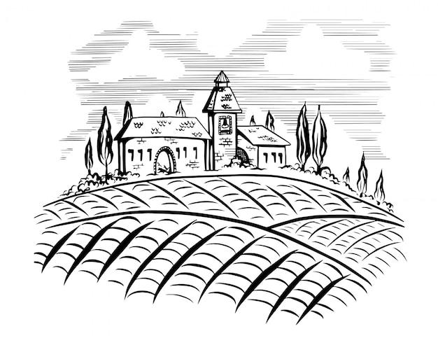 Modelo de rótulo de vinho com paisagens campestres e montanhas.