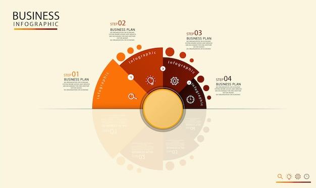 Modelo de rótulo infográfico circular com 4 opções ou infográficos de ícones de etapas para ideias de negócios