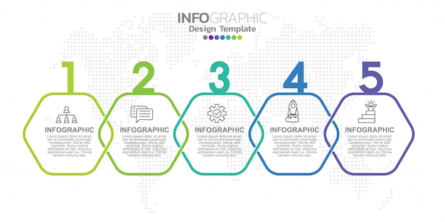 Modelo de rótulo infográfico com ícones e cinco opções ou etapas.