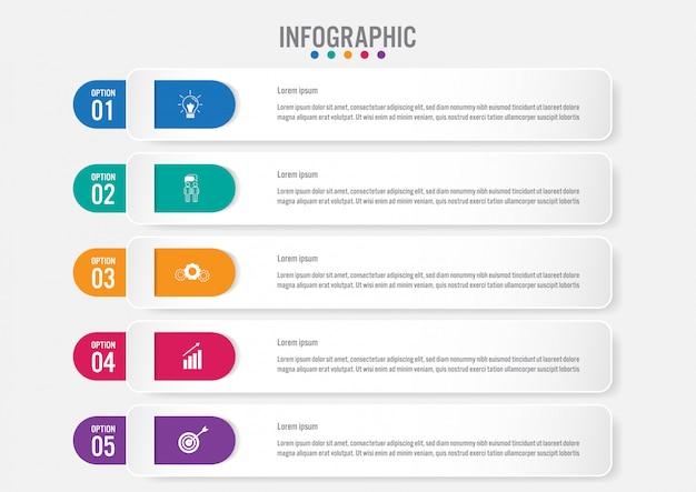 Modelo de rótulos de infográfico de negócios com 5 opções