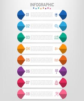 Modelo de rótulos de infográfico de negócios com 8 opções