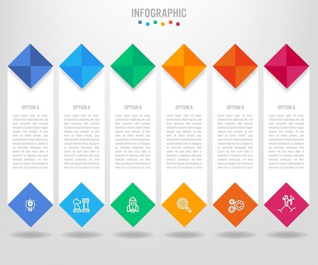 Modelo de rótulos de infográfico de negócios com opções