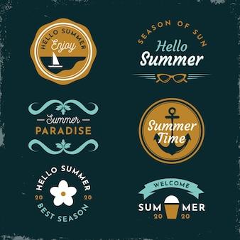 Modelo de rótulos de verão vintage