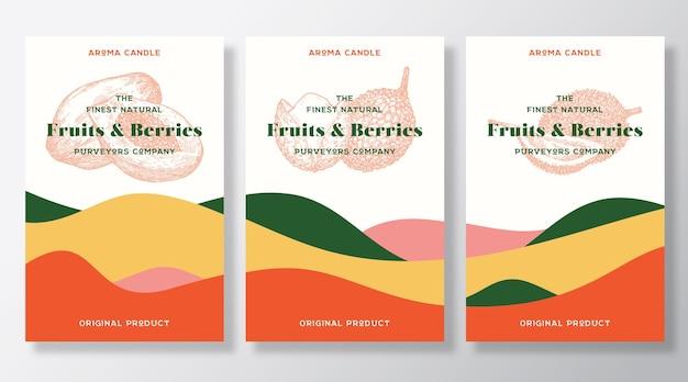Modelo de rótulos de vetor de vela de aroma definir frutas exóticas perfume fornecedores locais anúncio desenho esboço bac ...