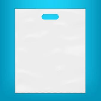 Modelo de saco de plástico branco vazio