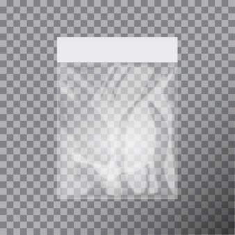 Modelo de saco de plástico transparente em branco. embalagem branca com ranhura para pendurar. ilustração