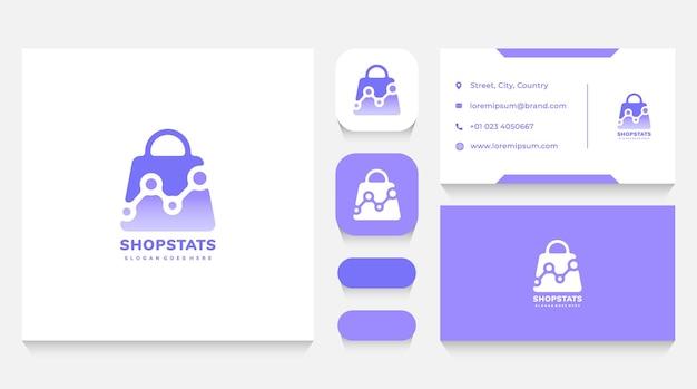 Modelo de sacola de compras e logotipo de estatísticas e cartão de visita